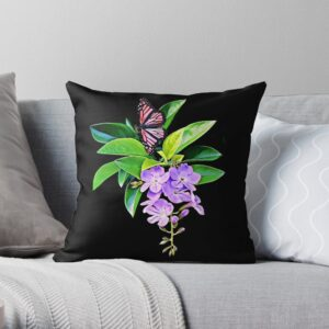 Purple Flowers Green Leaves Butterfly Decorative Pillows For Bed