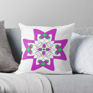 Purple Green and Black Geometric Pillow