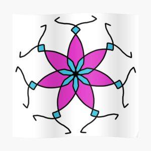 Purple Teal Geometric Flower Design