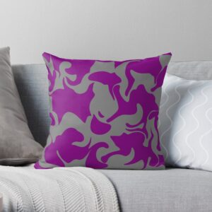 Purple and Grey Abstract Art Decorative Pillows For Bed
